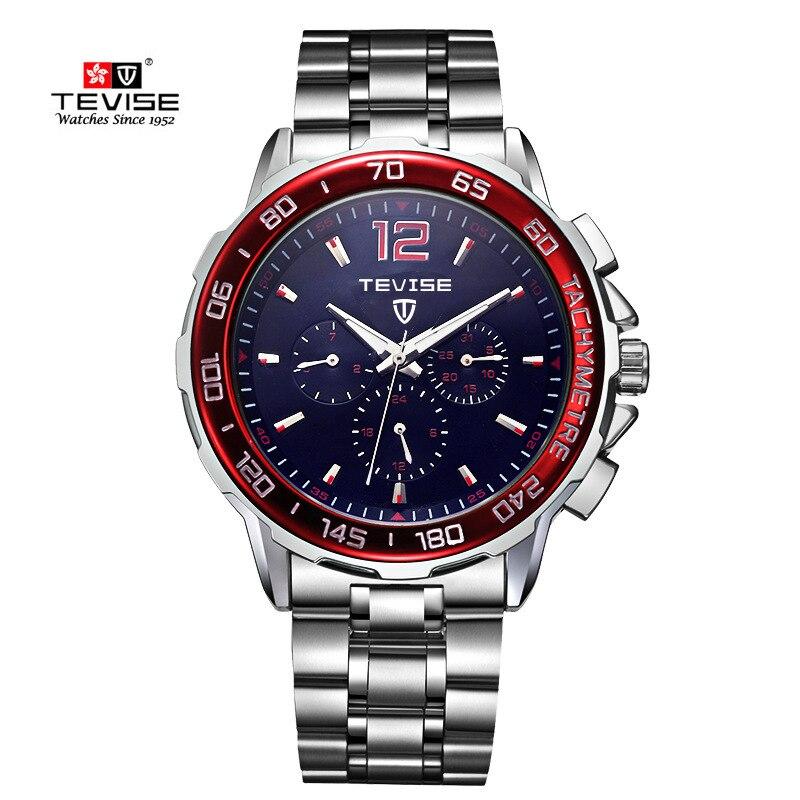 Tevise Top marka męskie zegarki automatyczne self-wiatr mechaniczne zegarek Tourbillonstainless stali nierdzewnej luksusowy zegarek Relojes Hombre