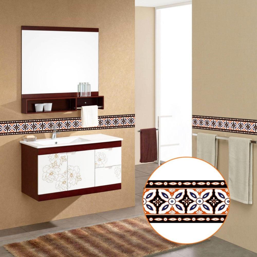 Creativo auto-adhesivo baseboard Sala baño retromulticolor de TYP patrón impermeable arte wallpaper cintura YX006