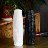 Creative Alligator Pattern Flower Ceramic Vases Simple Black White vaso decorativo Tall Belly Body Vase For Wedding Decoration