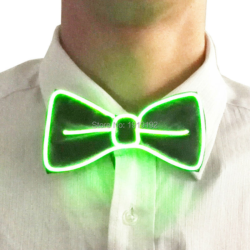 2016 Fashion Glowing Flashing El Sound Activated Electronic Flashing Djs Tie For Party Bar Club With Red Pink Blue Green El Men's Ties & Handkerchiefs