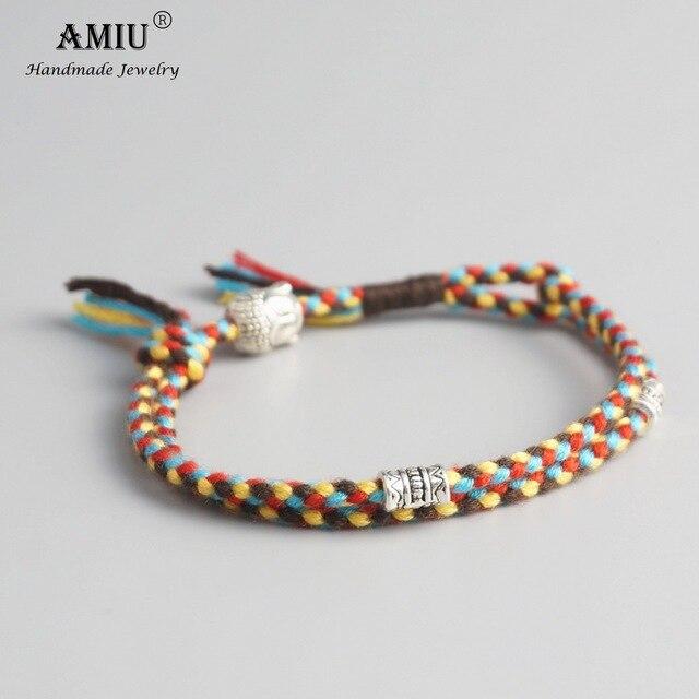 AMIU Tibetan Buddhist Lucky Woven Amulet Tibetan Cord Bracelets & Bangles Handmade 5