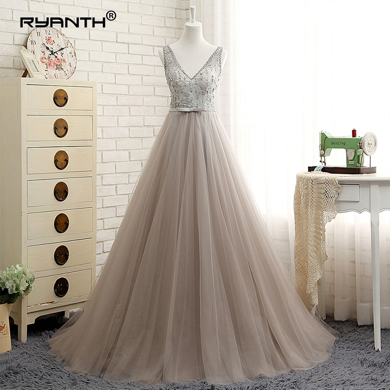 Ryanth Sexy Long Elegant   Prom     Dresses   2018 A Line V-Neck Backless Beads Pearls Party Gowns Sweep Train Cheap Tulle Evening   Dress
