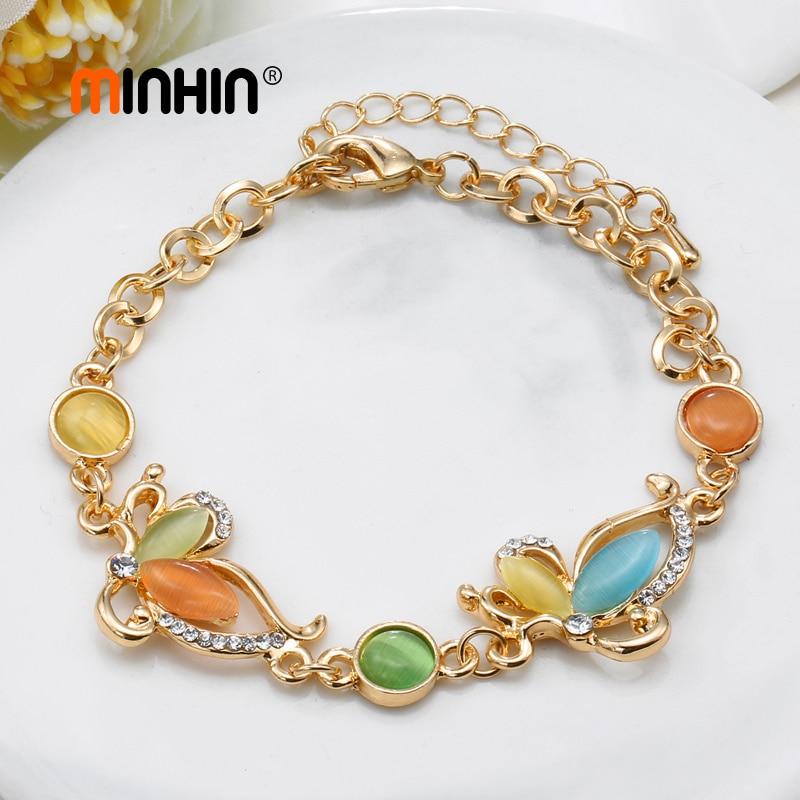 MINHIN Gold Butterfly Charm Bracelets for Women Luxury Bridal Wedding Jewelry Cat's Eye Stone Bracelet & Bangles Femme