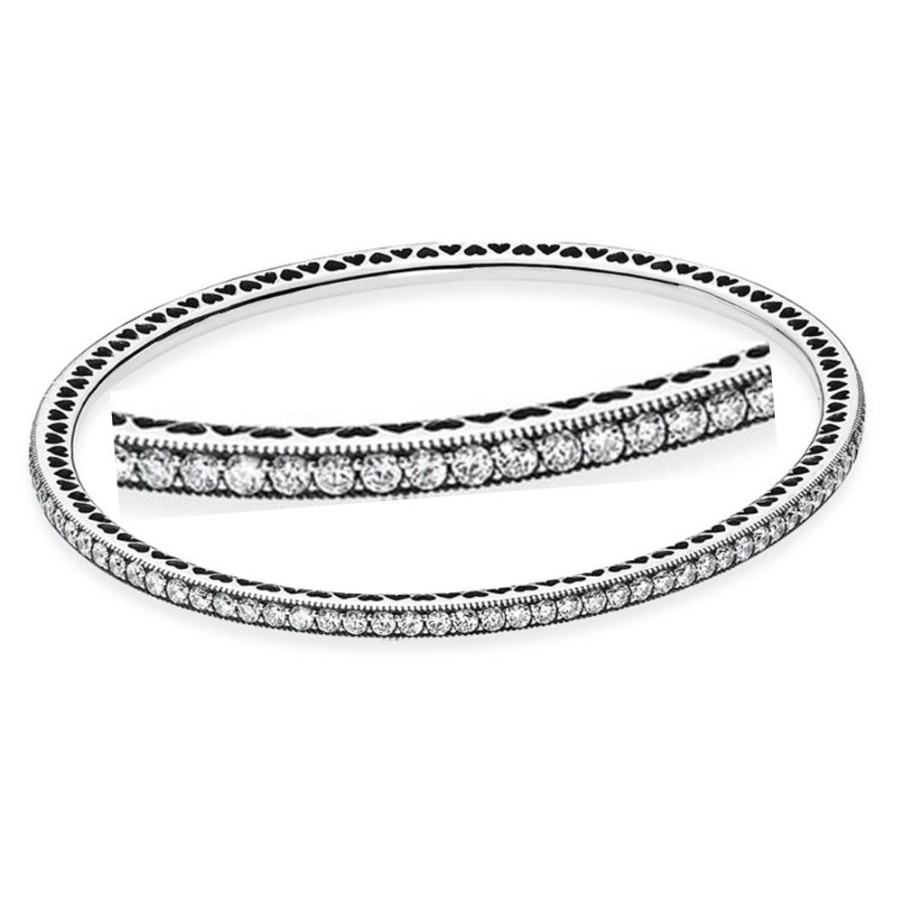 bangles jewellery diamond silver bracelet cubic bangle bracelets tennis zirconia womens sterling inches image