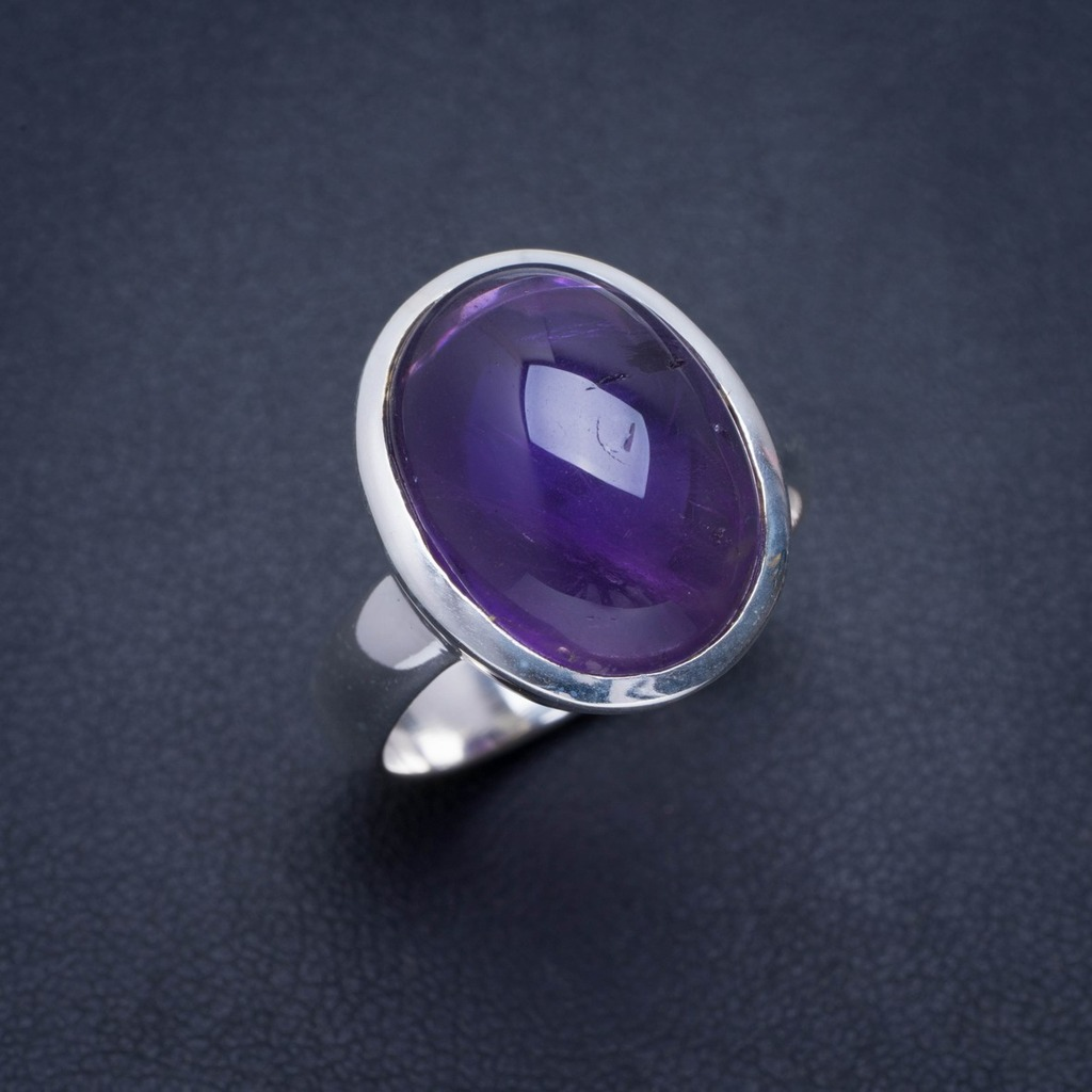 Natural Amethyst Handmade Unique 925 Sterling Silver Ring 7.5 A1215Natural Amethyst Handmade Unique 925 Sterling Silver Ring 7.5 A1215