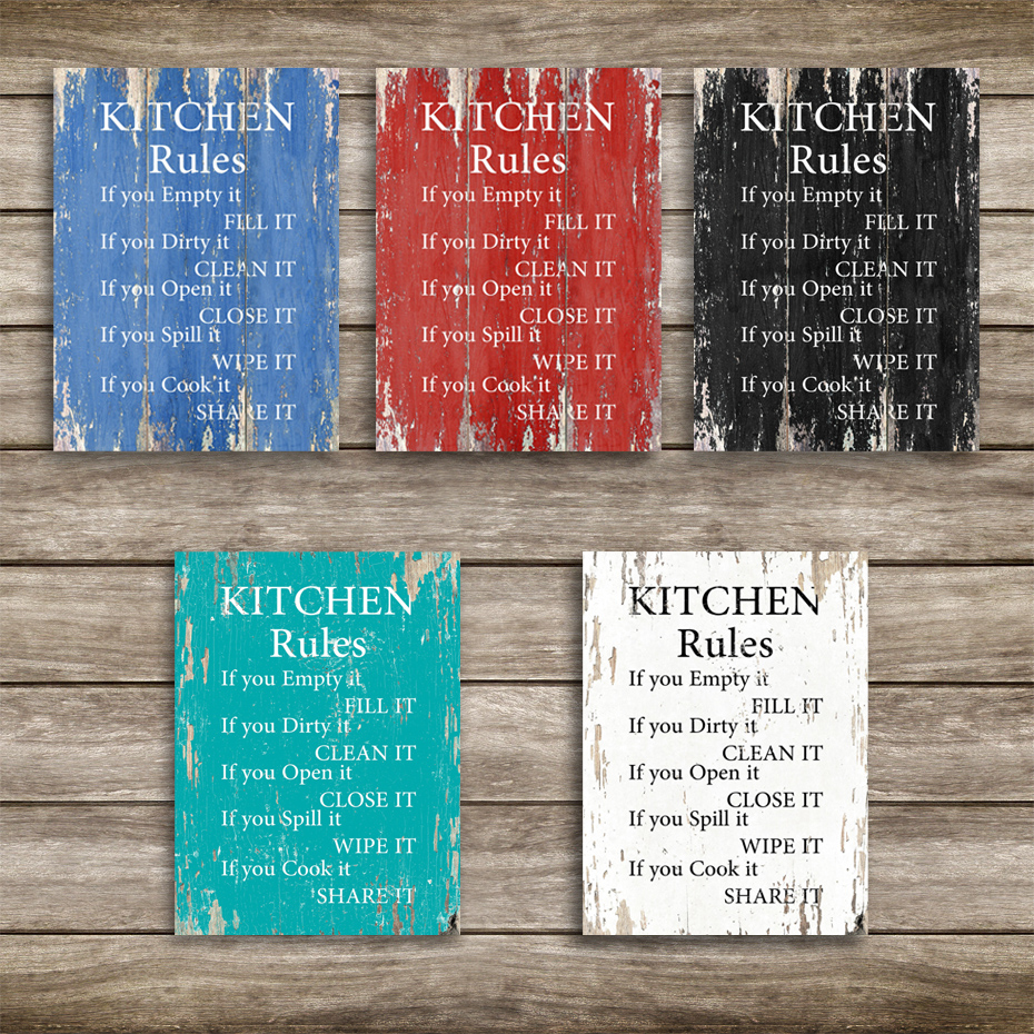 Vintage Kitchen Rules Wall Art Canvas Paintings DIY Photo Framed Prints Posters Pictures Frame Dining Room Home Decoration  (3)