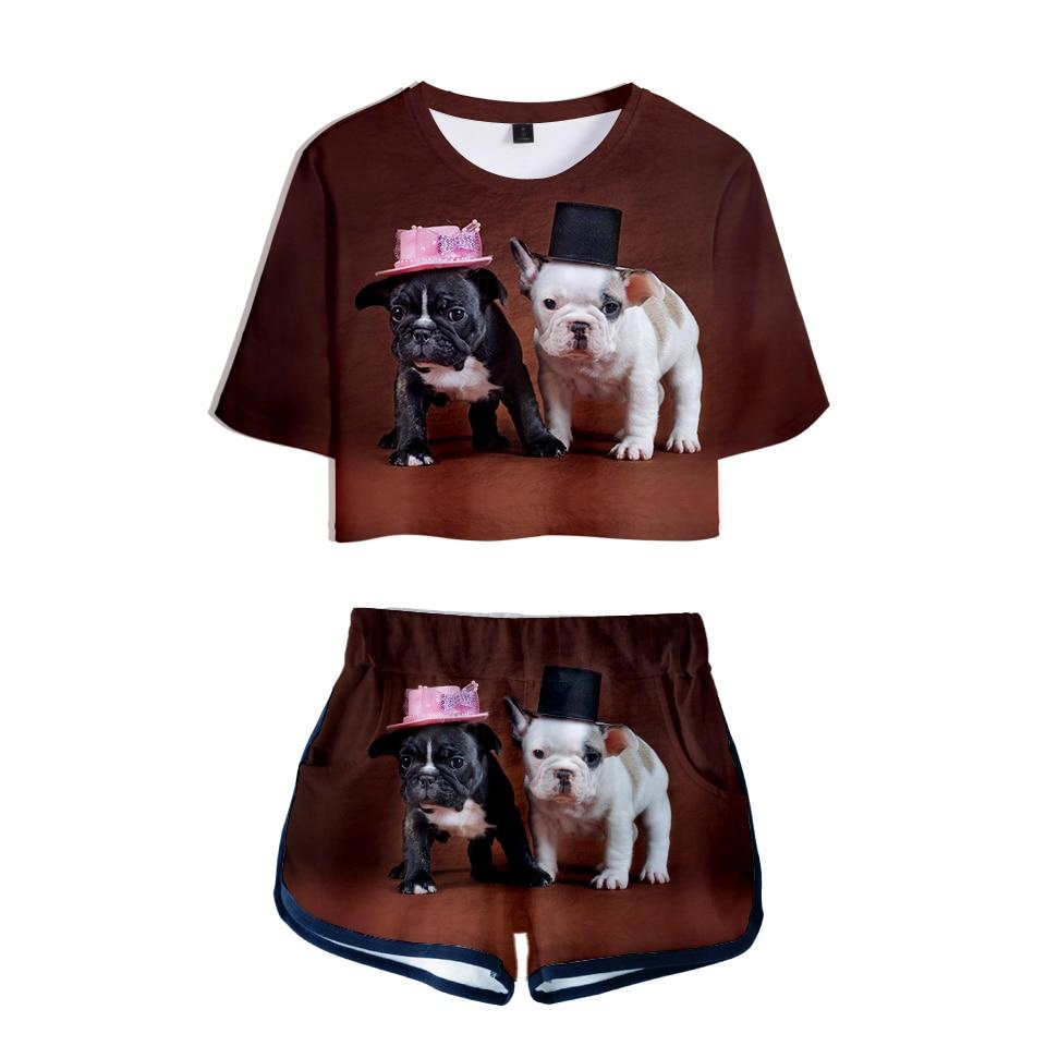Französisch Bulldog 3d Gedruckt Frauen Zwei Stück Sets Mode Sommer Kurzarm Crop Top + Shorts 2019 Casual Trendy Streetwear Kleidung