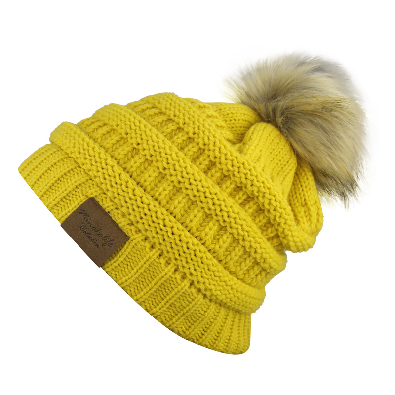 5f0ab1315 US $5.59 20% OFF|2017 Rushed Special Offer Solid Adult Gorro Men's Women's  Chucky Stretch Cable Knit Slouch Beanie Skully Faux Fur Pompom Hat-in ...