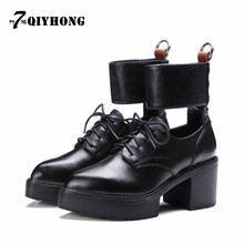 2017 Spring And Summer New Leather Shoes With High-Heeled Shoes, Women'S Shoes With Color Leather Shoes QIYHONG Brand
