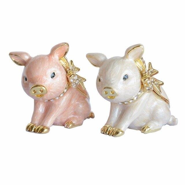 Porco animal anel titular jóias caixas do trinket pewter Collectible figurine animal de decoração Para Casa Presentes
