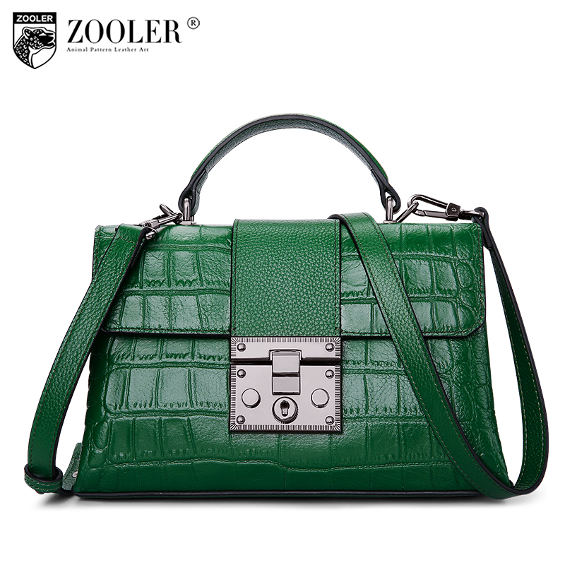 fashion 2017 Zooler Brand women leather shoulder bag alligator pattern top handle genuine leather bag women bag bolsas tote#A109 new product sales zooler brand zipper cowhide bag top handle shoulder bag simply solid genuine leather bag women bag bolsas c108