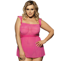 Pink Baby Doll Sexy Lingerie Women Sleepwear Lace Hot Sexy Erotic Lingerie Plus Size Transparent Sexy