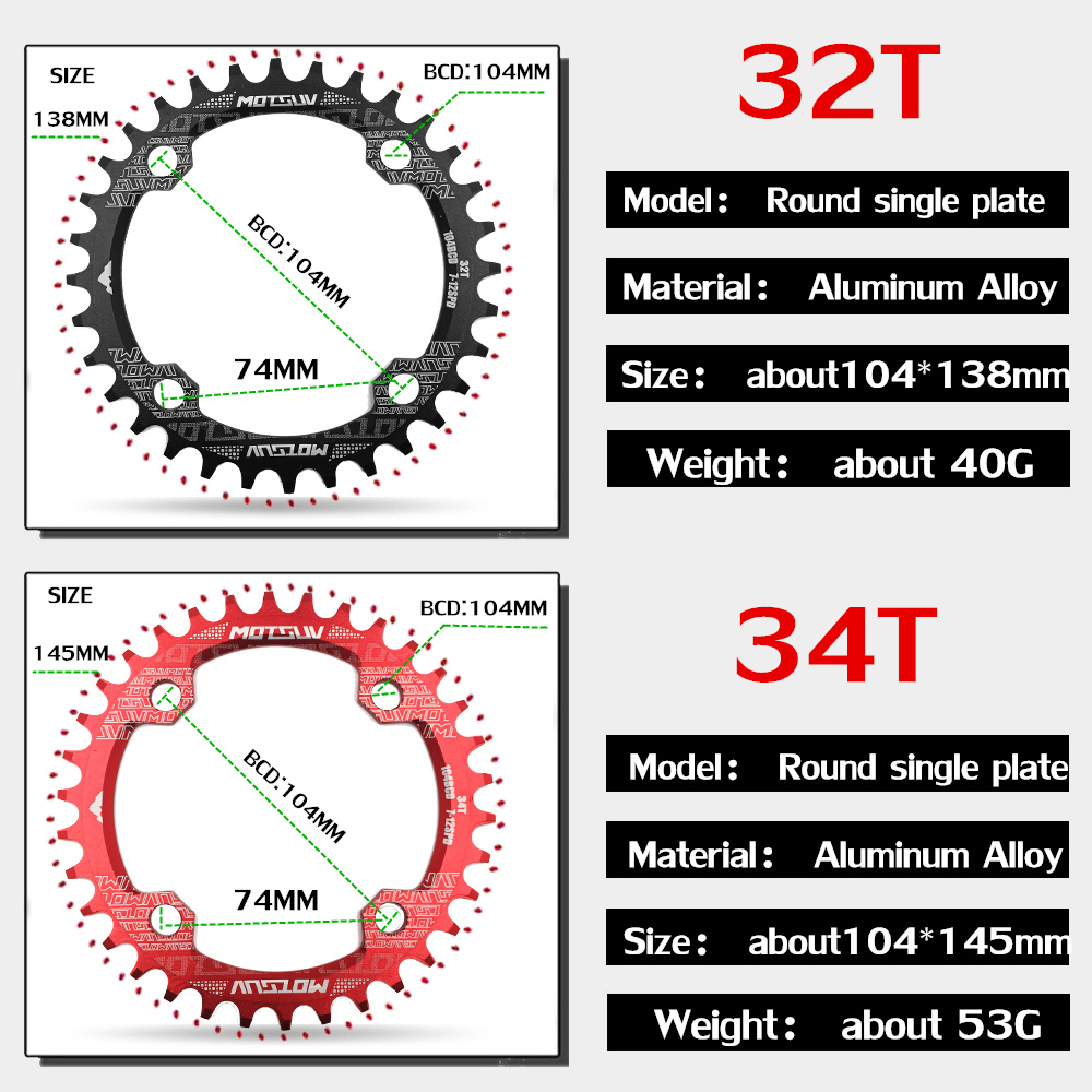ALI shop ...  ... 32784960875 ... 3 ... MTB Bicycle Round Shape Narrow Wide Chainwheel 32T/34T/36T/38T 104BCD Chainring Bike Circle Crankset Single Plate Bicycle Parts ...