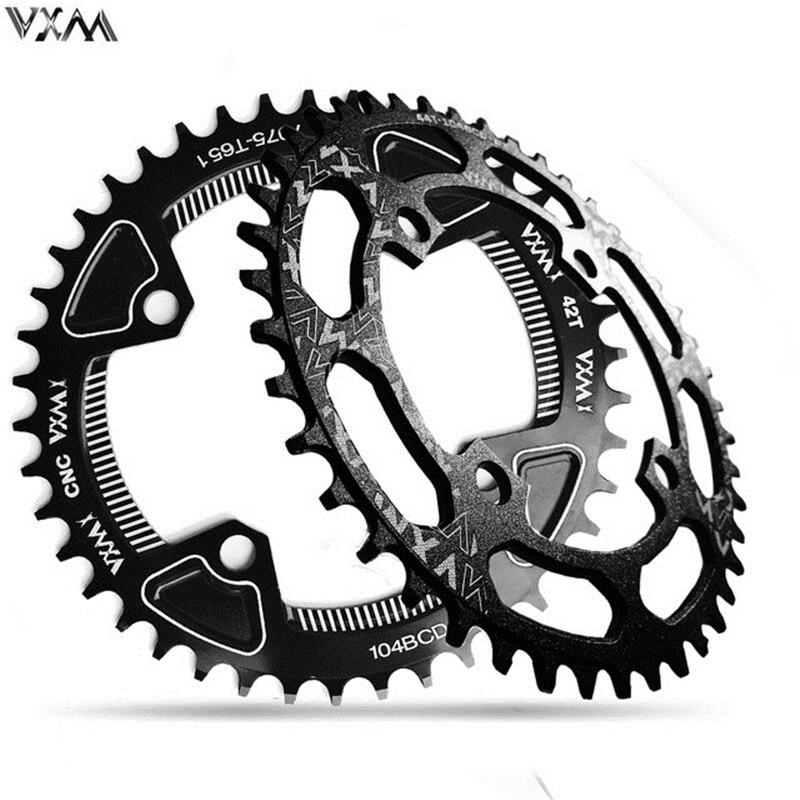 VXM Bicycle Chainwheel 104BCD Crank Round Shape Narrow Wide Chainring 40T/42T/46T/48T/50T/52T MTB Crankset Parts