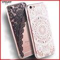 Para iphone 7 6 6 s plus case vpower luxo transparente macio tpu 3d alívio impressão back flip tampa do telefone bag para iphone 7