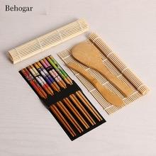 Behogar Completo Kit Fabricante de Sushi de Bambu Que Faz A 2 Esteiras Rolantes Rolo Arroz Colher & Spreader 5 Par Pauzinhos Cozinha Acessórios
