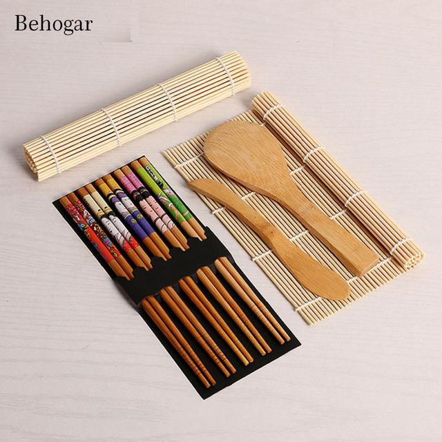 Us 4 84 50 Off Behogar Complete Bamboo Sushi Making Maker Kit 2 Rolling Mats Roller Rice Spoon Spreader 5pair Chopsticks Kitchen Accessories In