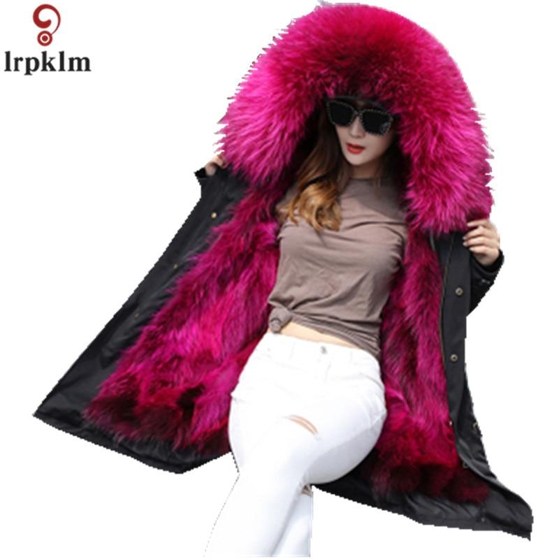 Куртка Для женщин зимние парки длинные большой Лисий меховой воротник пальто с капюшоном 2018 женские меховые Лен утолщенной теплые куртки Плюс Размеры пальто LZ962