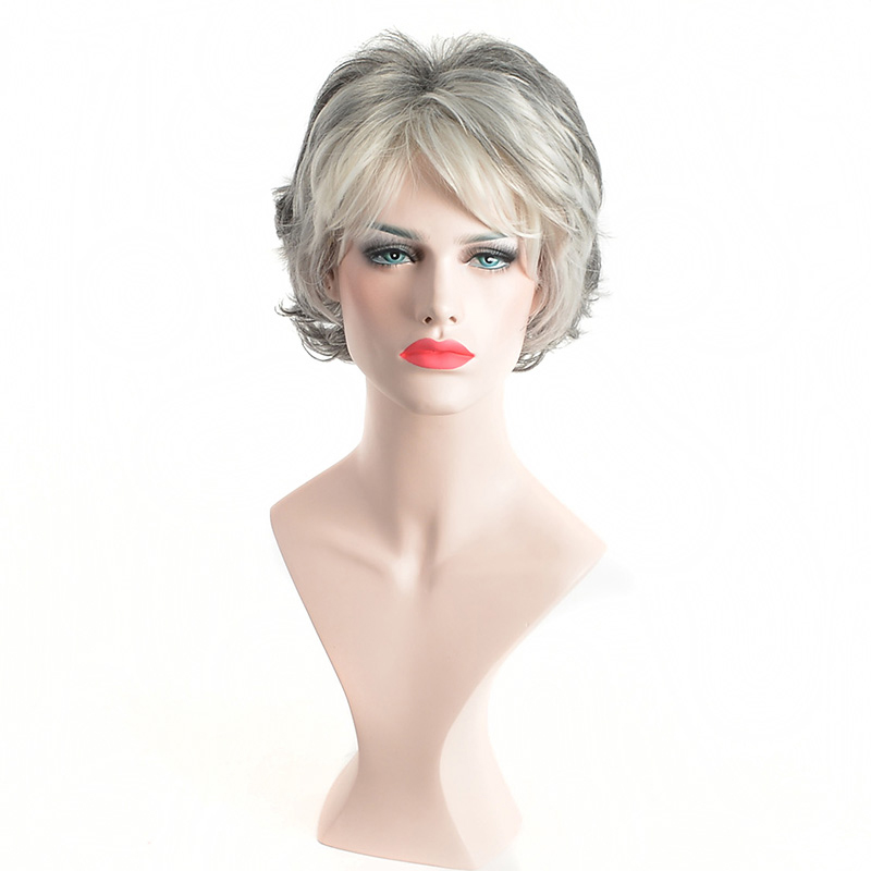 MSIWIGS Straight Short Wig for Elder Women Silver White Grey Synthetic Wigs with Bangs Natural Brown Ombre Hair Wig