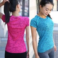 Женские футболки для йоги, спортивные футболки с коротким рукавом для фитнеса, женские свободные быстросохнущие футболки для бега, топы, одежда