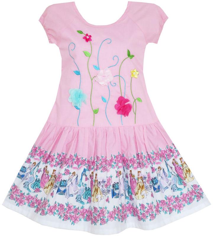 Girls Dress Embroidered Leaves Flower O-Neck Cotton Pink 2018 Summer Princess Wedding Party Dresses Children Clothes Size 7-14 женское платье summer dress 2015cute o women dress