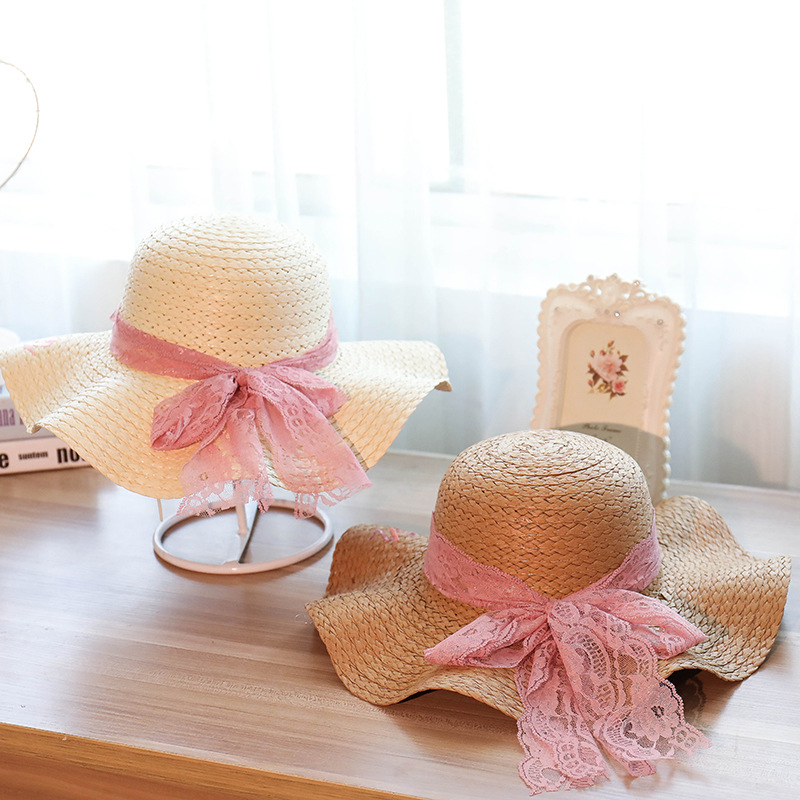 2018 New Summer Girls Straw Hats for Woman Sun Hat with Lace Bow Handmade Summer Solid Color Hat Adult Straw Hats Folding