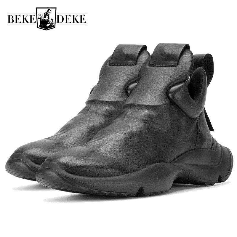 Hommes Personnalité Slip Sur Formateur Sneakers De Luxe Véritable Punk en cuir Épais Plate-Forme Chaussures Mode Masculine Hip Hop Chaussures Mocassins