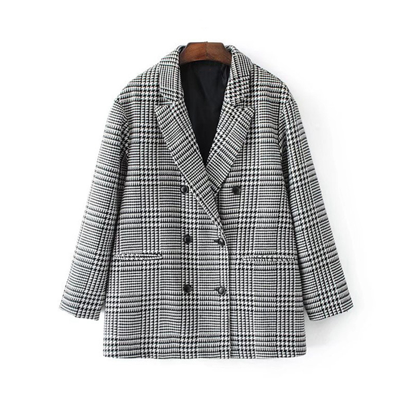 Bright Bella Philosophy 2018 Spring Plaid Check Houndstooth Women Casual Outwear Double Breasted Ol Workwear Blazer Female Coat
