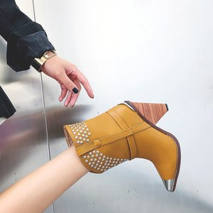 Image 3 - Punk shoes Microfiber leather Boots women metal rivets studded high quality Ankle Boots pointed toe middle heel botas mujer
