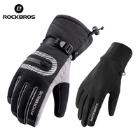 ROCKBROS Winter Touch Screen Double Layer Cycling Gloves Thermal Warm Windproof Waterproof Mtb Bike Bicycle Gloves For Skiing|Cycling Gloves| |  -