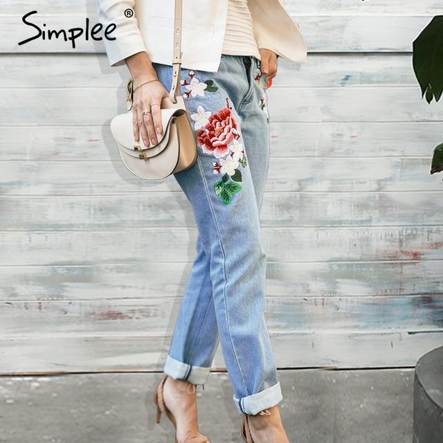 Simplee Floral bordado calça jeans feminina Inverno zipper reta calças jeans calças de brim das mulheres bolso Moda luz azul das calças de brim