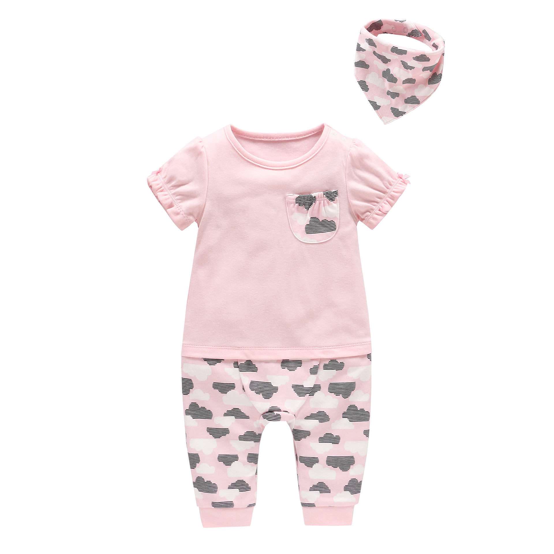 2018 Baby Girl Summer Clothing Sets Baby Cloud Printed Pocket Romper+bibs 2pcs Set Infant Baby Cotton Outfits Kid Clothes new baby girl clothing sets infant easter romper tutu dress 2pcs set black girls rompers first birthday costumes festival sets