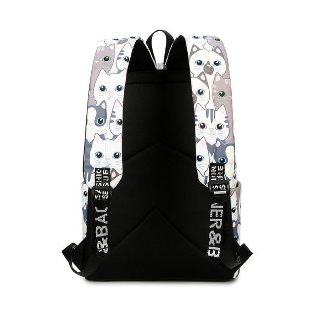 Women's Waterproof Cat Printed Backpack