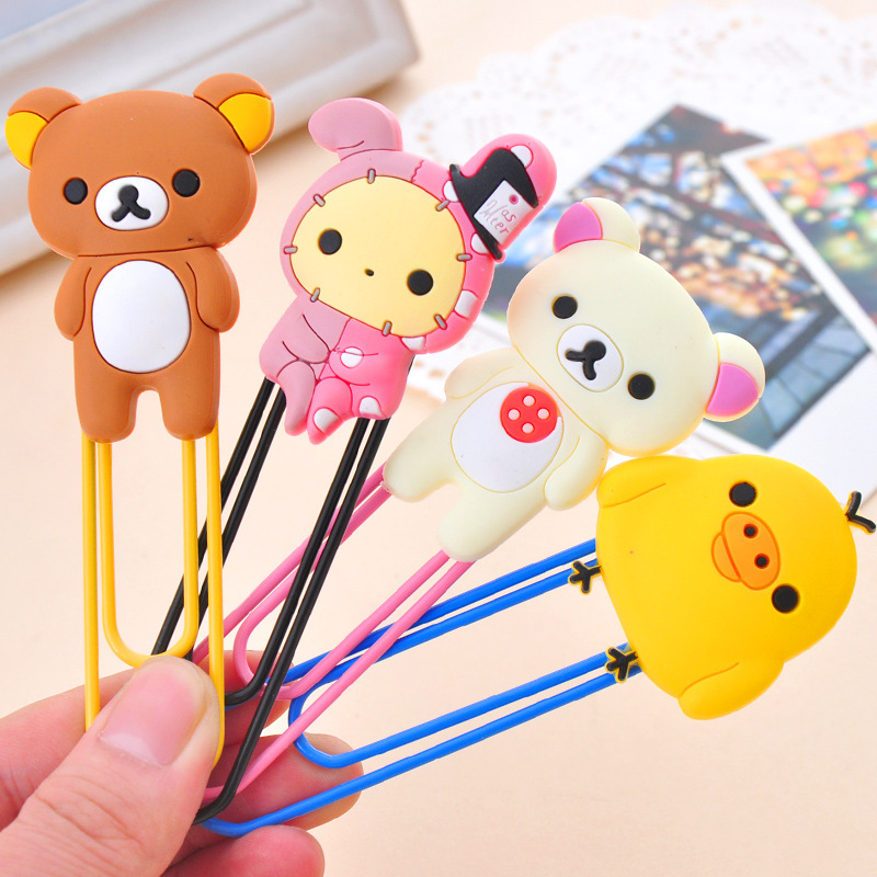 1 PCS Cute Cartoon Kawaii Rilakkuma Series Bookmark Clip Memo Clip Paper Clip Bookmark School Office Supply Paperclip Bookmarks