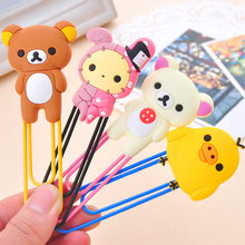 1 Pcs Leuke Cartoon Kawaii Rilakkuma Serie Bookmark Clip Memo Clip Paperclip Bladwijzer School Office Supply Paperclip Bladwijzers(China)