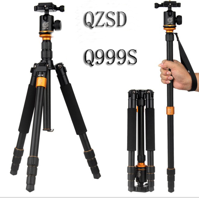 2017 QZSD Q999S Magnesium Aluminum Alloy Compact Portable Traveling Tripod Monopod Stand with Tripod Ball Head and Carrying bag oki c542dn