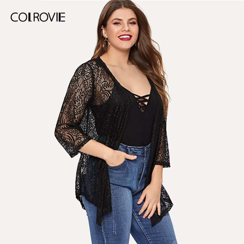 ab2ca596c1c94 COLROVIE Plus Size Black Solid Open Front Sheer Lace kimono Cardigan Coat  Women 2019 Summer Holiday Office Ladies Outerwear