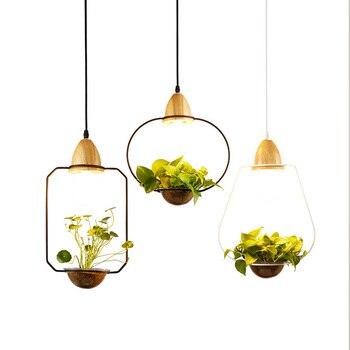 Креативный современный подвесной светильник из дерева + железа, подвесной светильник для цветочного горшка, подвесной светильник для ресто...