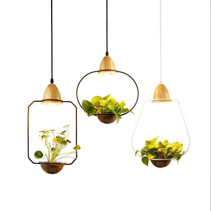 Creative Modern Pendant Light Wood+Iron Flower Pot Hanging Lamp Suspension Plant Restaurant Dining Room Kitchen Lighting Fixture цена