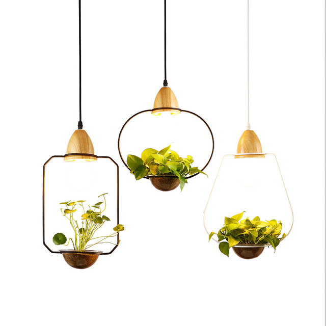 Creative Modern Pendant Light Wood Iron Flower Pot Hanging Lamp Suspension Plant Restaurant Dining Room