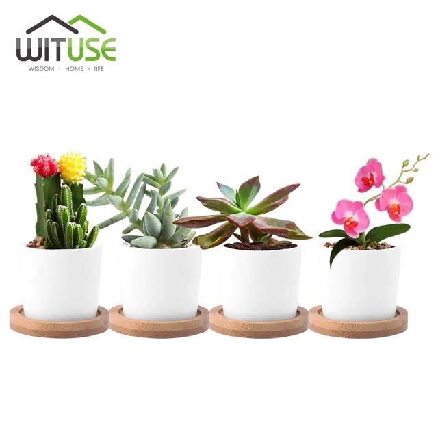 Cheap White Mini Ceramic Succulent Plants Pots Diy Mini Potted