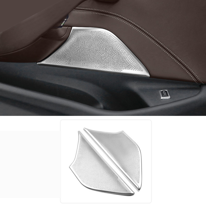 For BMW 5 Series G30 2017 2018 Interior Stainless Car-styling Car Styling Front Door Speaker Cover Trim 2pcs sus304 stainless steel interior door speaker trim car styling cover accessories for mazda cx 5 kf 2nd gen 2017