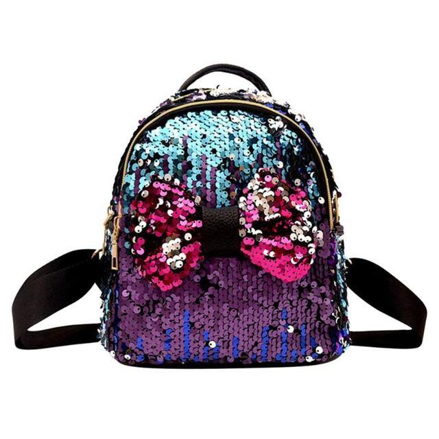 603cfd23b32b 2018 Mini Sequin Backpack Women Girls Zipper Travel Shining Bag Female  School Bag for Teenager Girl Sac a Dos Mochila Feminina