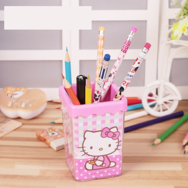 10pcs Plastic Cute Cartoon Hello Kitty Pen Organizer Quality Pen Holder  Office Supplies Good Gifts For
