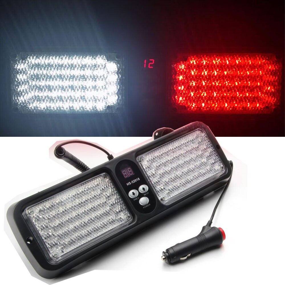 CYAN SOIL BAY Red White 86 LED Car Truck Sun Visor Strobe Flash Lighting Emergency Light