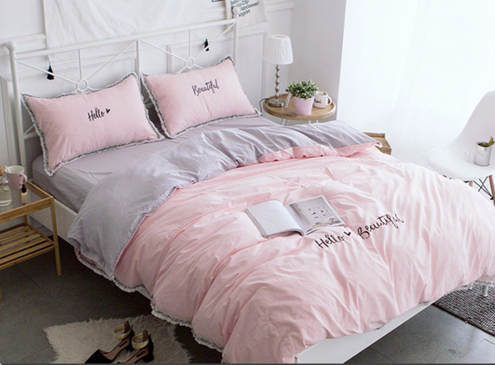 White gray pink washed cotton lace flower bedding set duvet cover