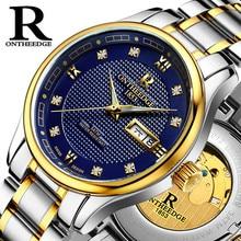 Sapphire glass brand ONTHEEDGE automatic mechanical watch business luminous watch hollow men watch waterproof steel Reloj H