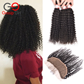 Gossip Girl Malaysian Virgin Hair With Closure 7A Kinky Curly Hair Lace Frontal With Bundles 7A Human Hair Bundles With Closure