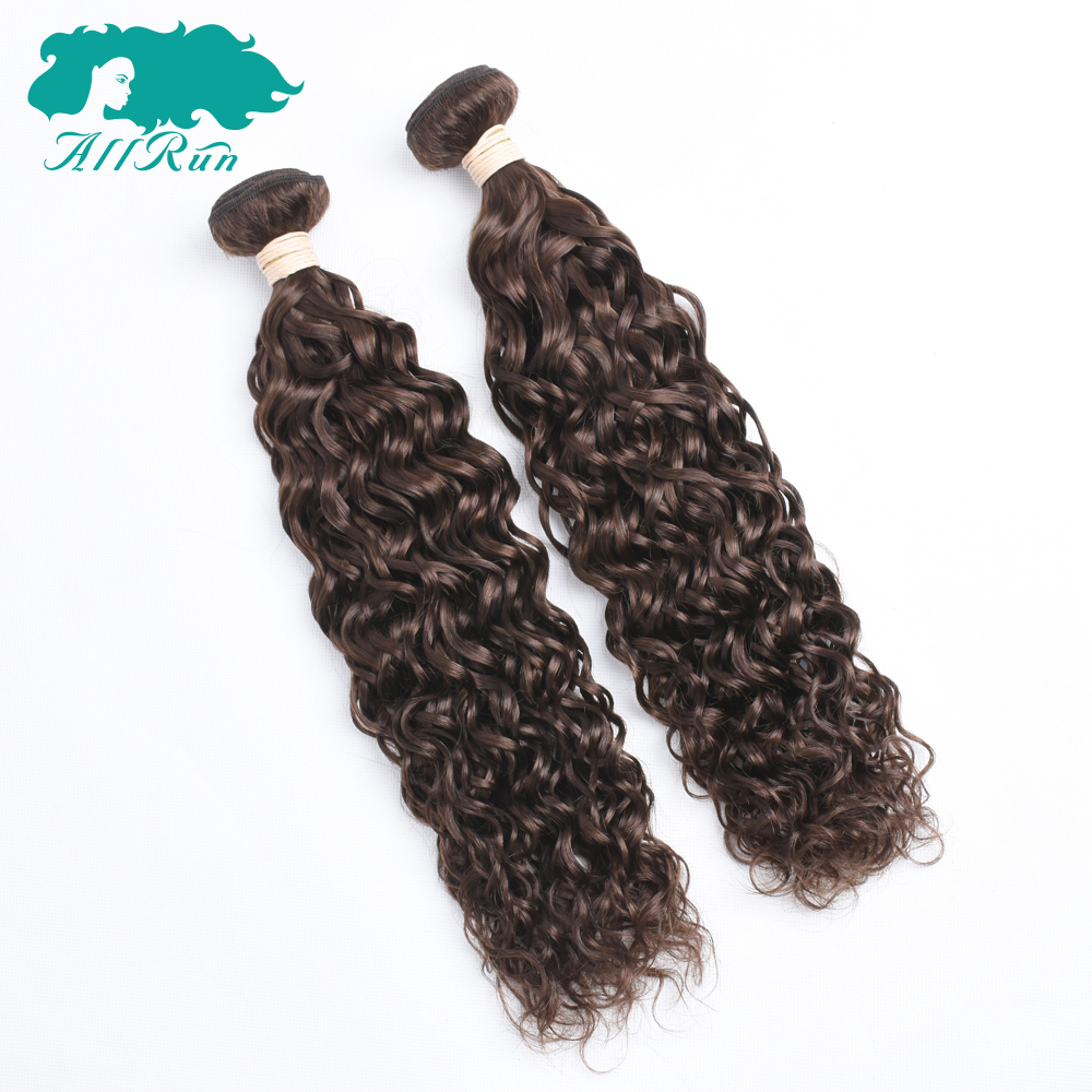 Allrun Hair Pre-colored Water Wave #4 Light Brown Indian Hair 2 bundles pack Tangle Free 100% Human Hair Weave Non Remy