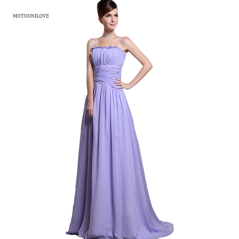 Spaghetti Straps Vintage Cheap Lavender Bride Dress Long Evening Dresses 2019 A Line Pleated Chiffon Formal Dresses Party Gowns
